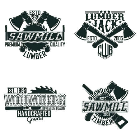 Set of Vintage woodworking  designs, grange print stamps, creative carpentry typography emblems, Vector