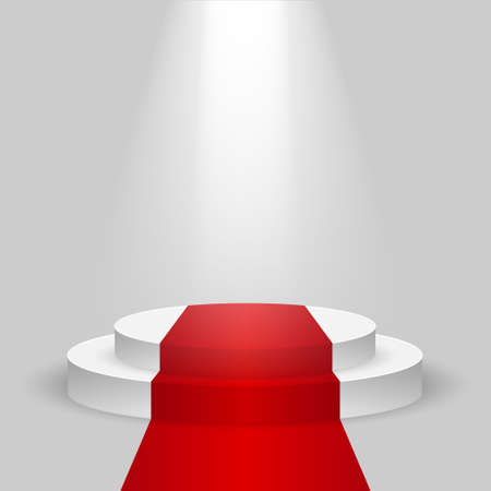 Realistic contest scene with the Red carpet and the spotlight, the Red carpet on empty white podium, place for product placement for presentation, winners podium or stage with the Red carpet, vector Stock Illustratie