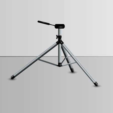Realistic camera tripod with shadow 3D design, vector Stockfoto - 154447158
