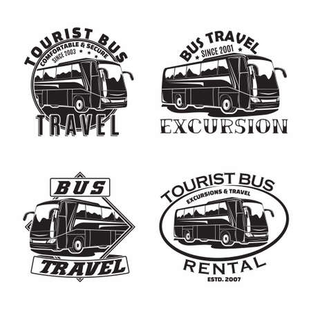 Set of Bus travel company emblems designs, emblems of excursion or tourist bus rental organization, travel agency print stamps, bus typography emblems, Vector