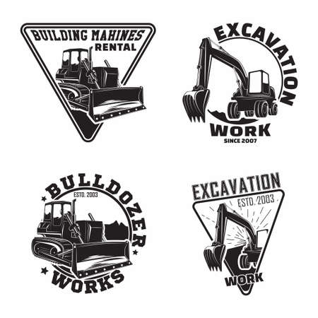 Set of Excavation work emblems design, emblems of bulldozer or building machine rental organization print stamps, constructing equipment, Heavy bulldozer machine typographyv emblems, Vector