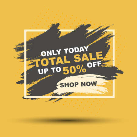 Sale banner on yellow and black background, brush banner template design, bage with modern abstract background, vector