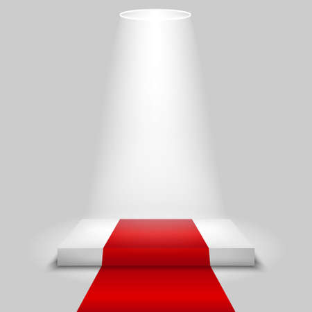 Realistic contest scene with the Red carpet and the spotlight, the Red carpet on empty white podium, place for product placement for presentation, winners podium or stage with the Red carpet, vector Иллюстрация