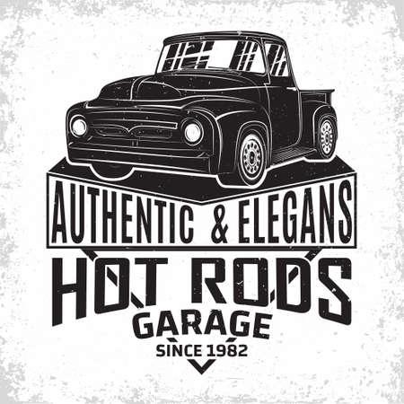 Hot Rod garage   design, emblem of muscle car repair and service organization, retro car garage print stamps, hot rod typography emblem, Vector Vettoriali