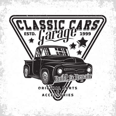 Hot Rod garage  design, emblem of muscle car repair and service organization, retro car garage print stamps, hot rod typography emblem, Vector