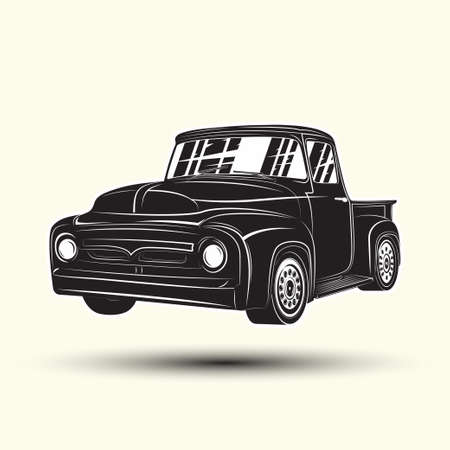 Monochrome hot rod pickup icon isolated on white background with shadow, classic retro car emblem, vector Illustration