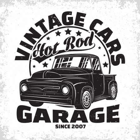 Hot Rod garage  design, emblem of muscle car repair and service organization, retro car garage print stamps, hot rod typography emblem, Vector Stockfoto - 154562504