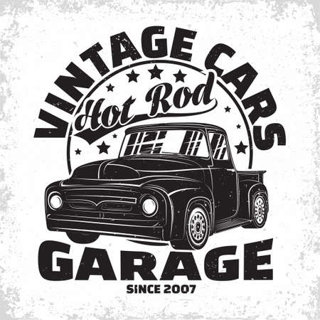 Hot Rod garage  design, emblem of muscle car repair and service organization, retro car garage print stamps, hot rod typography emblem, Vector
