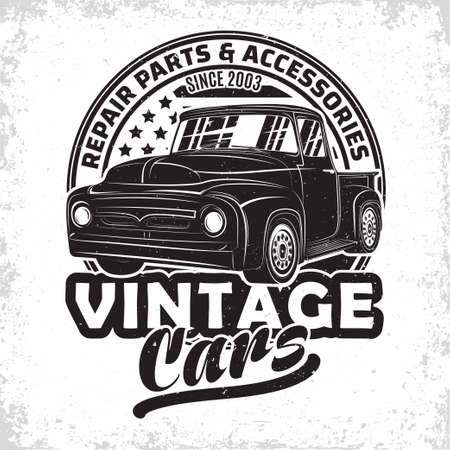 Hot Rod garage   design, emblem of muscle car repair and service organization, retro car garage print stamps, hot rod typography emblem, Vector 向量圖像