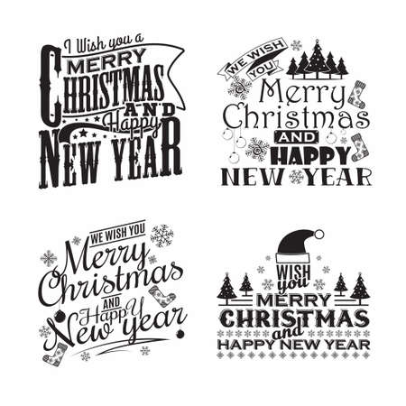set of monochrome vintage christmas lettering emblems