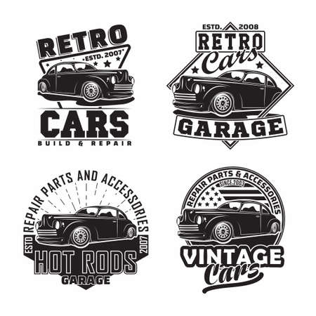 Vintage monochrome Hot Rod garage design 向量圖像