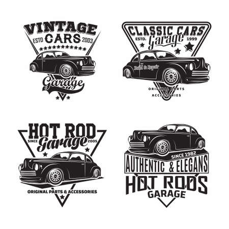 Vintage monochrome Hot Rod garage design 일러스트