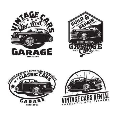 Vintage monochrome Hot Rod garage  design