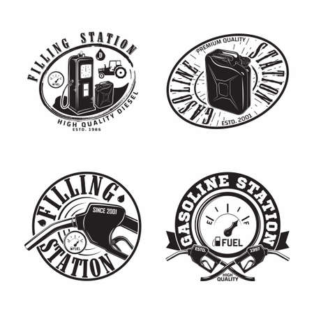 Set of Vintage Petrol station emblems design Ilustración de vector