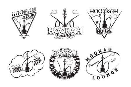 Set of Vintage Hookah lounge emblems designs
