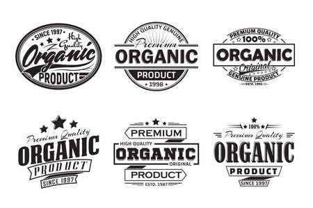 monochrome vintage Organic products labels or emblems design