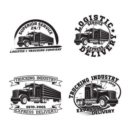 Set of trucking company vintage emblem designs Illusztráció