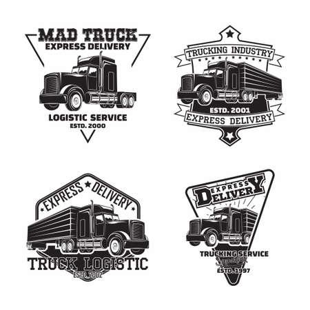 Set of trucking company vintage emblem designs 向量圖像