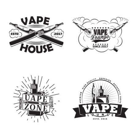 Set of vintage vape lounge emblems designs 일러스트
