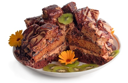 The slice of dark chocolate cake like ruins with sweet chocolate syrup and decorated with sliced kiwi and flowers Standard-Bild
