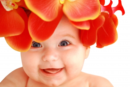 Lachen happy baby girl with red Orchideen Standard-Bild - 17416934