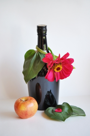 bottle, flower, apple photo