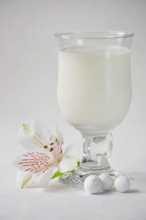 glass of milk, cranberry in sugar and orchid on a gray background photo