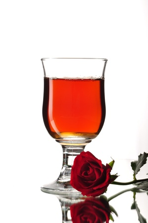 drink, rose, on a white background in the studio photo