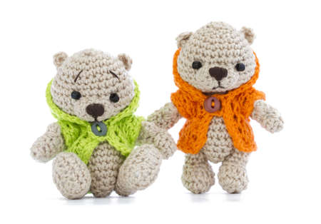crochet: tiny knitted toys, dressed in bright jackets