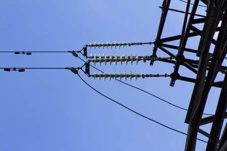 insulators: insulators of high voltage power lines Stock Photo