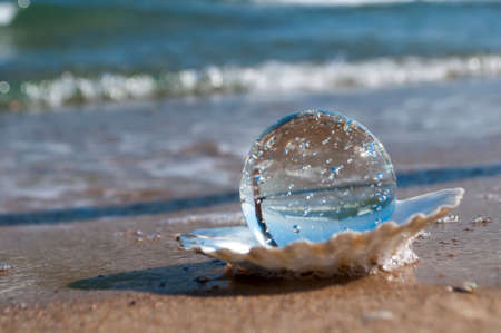 transparent crystal ball as the pearl lies in a seashell in the sand on the beach