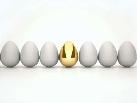 among the usual white eggs one gold, all isolated on white background