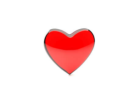 red, translucent glass heart isolated on white background photo