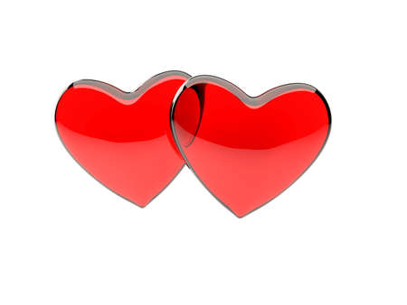 a pair of red, translucent glass hearts isolated on white background photo