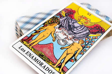 background card: the deck of Tarot cards on white background, top down card lovers Stock Photo