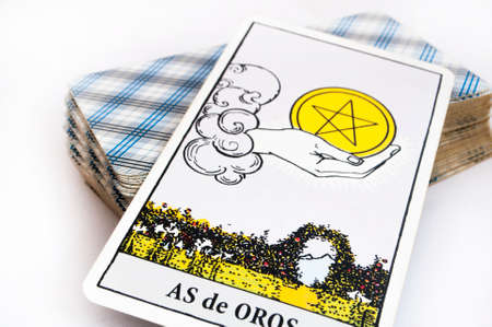 the deck of Tarot cards on white background, top down card as of golds Stock Photo