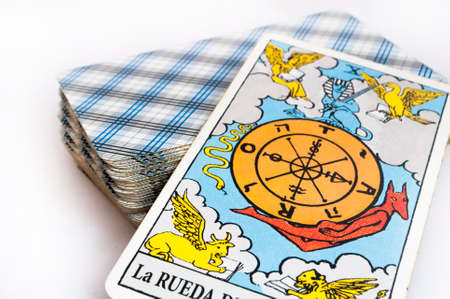 the deck of Tarot cards on white background, top down card the fortune Stock Photo