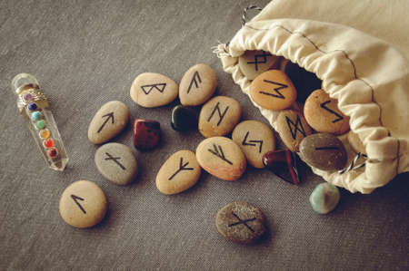 esoteric: divination and prediction on runes and Tarot, mysticism or esoteric isolated on grey background