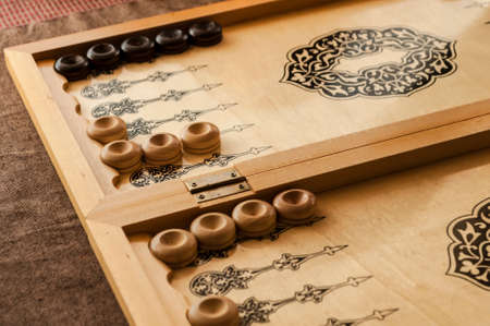 vintage wooden backgammon pattern and the dice