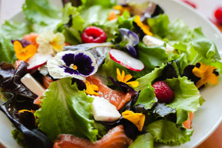 Salad with raspberry fruit, flowers, cheese and salmon