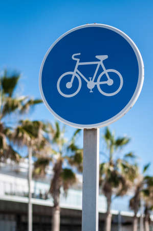 road sign cyclists way Stock Photo