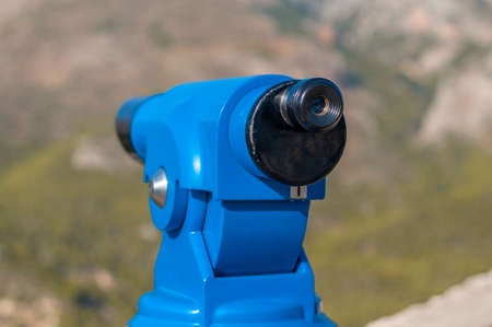 blue panoramic public binocular for panoramic view observe