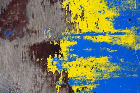 the texture of peeling paint is blue-yellow 版權商用圖片