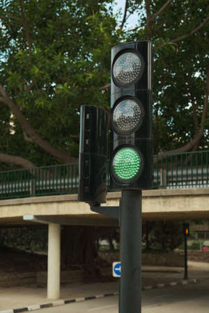 working traffic light in the Park Banque d'images