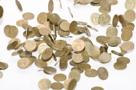 Coins fall on the table. Coins of the Soviet Union Standard-Bild
