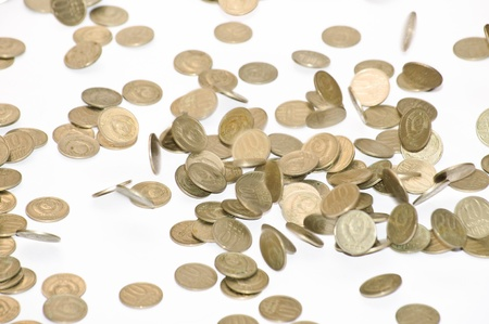 Coins fall on the table. Coins of the Soviet Union photo