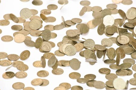 finacial: Coins fall on the table. Coins of the Soviet Union Stock Photo