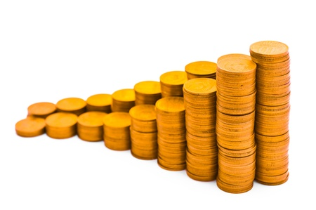 Schedule consisting of coins. Isolated on white background.