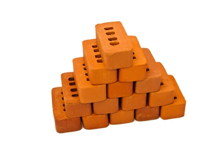 Small bricks for construction. Isolated on white background