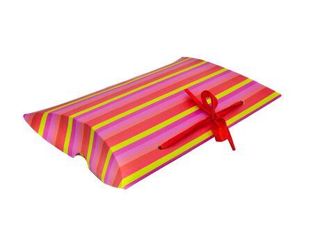 Gift wrap, surprise. Isolated on white background photo